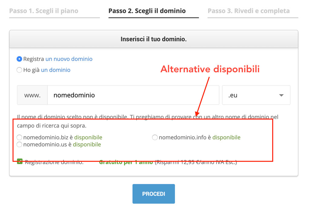 Digita il dominio su wordpress