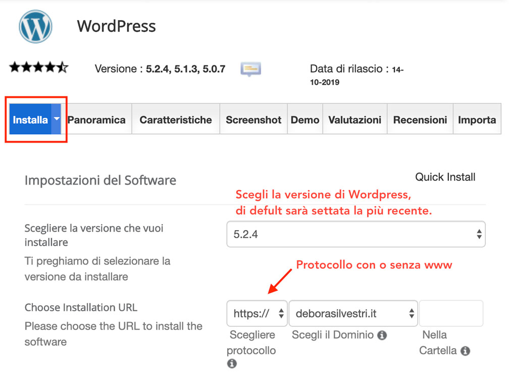 procedi installando wordpress