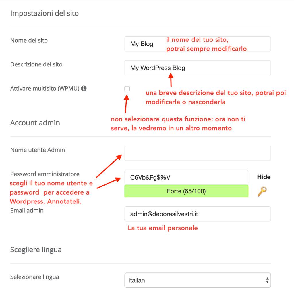 Inserisci le impostazioni del tuo sito