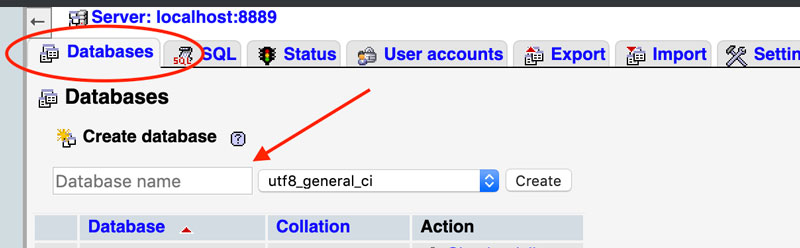 Creare il database sul server locale MAMP