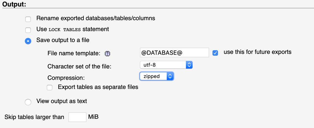 Esportazione del Database